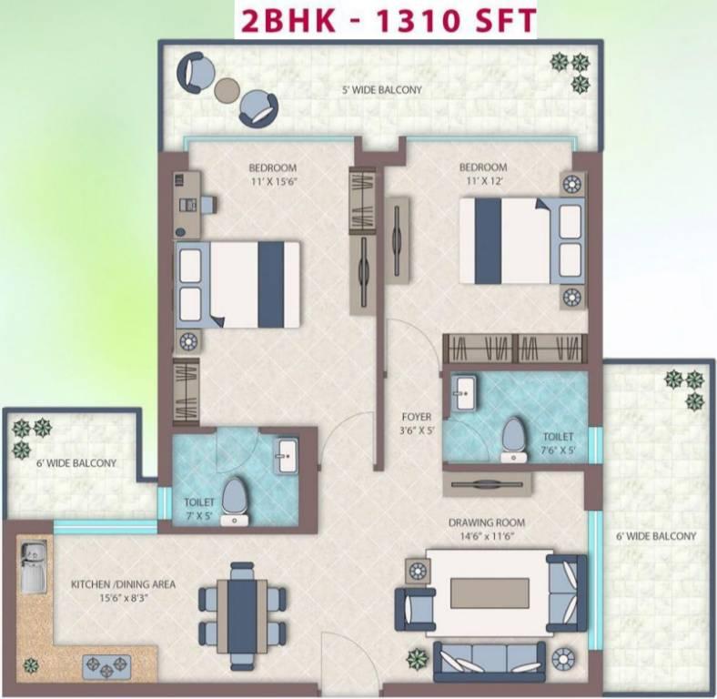 Emerald Heights floor plan 2 BHK 1310-sq.ft.