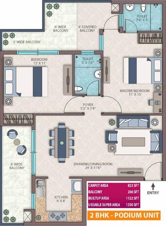 Emerald heights floor plan 2 BHK 1350-sq.ft