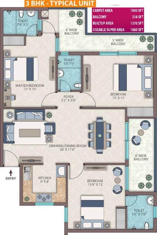emerald heights floor plan 3 BHK 1660-sq.ft.