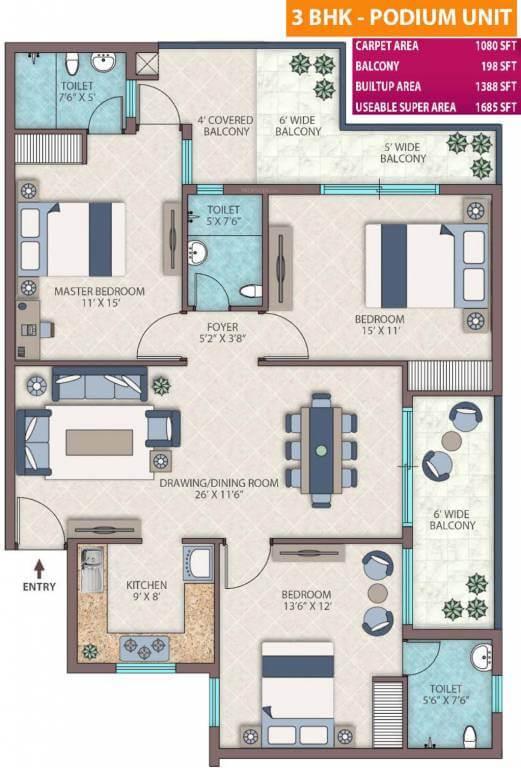 Emerald heights floor plan 2 BHK 1395-sq.ft.